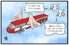 Cartoon: Lufthansa-Streik (small) by Kostas Koufogiorgos tagged karikatur,koufogiorgos,illustration,cartoon,lufthansa,streik,ufo,db,bahn,fliegen,vogel,arbeitskampf,verkehrsmittel,transport