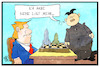 Cartoon: Nukleare Abrüstung (small) by Kostas Koufogiorgos tagged karikatur,koufogiorgos,illustration,cartoon,abrüstung,nordkorea,trump,spiel,gegner,usa,nuklear,atom,waffen,konflikt