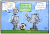 Cartoon: RoboCup (small) by Kostas Koufogiorgos tagged karikatur,koufogiorgos,illustration,cartoon,robocup,roboter,hooligan,fussball,sport,cyper,elektronik,digital,digitalisierung
