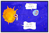 Cartoon: Sonde zur Sonne (small) by Kostas Koufogiorgos tagged karikatur,koufogiorgos,illustration,cartoon,nasa,sonne,raumfahrt,steak,well,done,erde,mission,hitze,braten