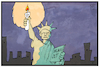 Cartoon: Stromausfall Manhattan (small) by Kostas Koufogiorgos tagged karikatur,koufogiorgos,illustration,cartoon,manhattan,usa,strom,ausfall,kerze,miss,liberty,wahrzeichen,symbol,energie,blackout