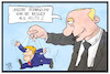 Cartoon: Trump und Putin (small) by Kostas Koufogiorgos tagged karikatur,koufogiorgos,illustration,cartoon,trump,putin,marionette,puppe,verbindung,fäden,strippen,russland,usa,gipfel,helsinki,bilateral,politik