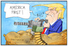 Cartoon: Trumps erste Woche (small) by Kostas Koufogiorgos tagged karikatur,cartoon,koufogiorgos,illustration,trump,arbeitswoche,arbeitsbeginn,usa,präsident,waffe,protektionismus,politik