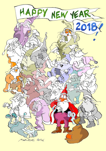 Cartoon: Happy New Year 2018! (medium) by Marlene Pohle tagged weihnachtsmann,mobiltelefone,zerstreutheit,verspätung