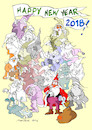 Cartoon: Happy New Year 2018! (small) by Marlene Pohle tagged weihnachtsmann,mobiltelefone,zerstreutheit,verspätung