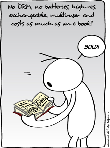 Cartoon: Book vs E-book (medium) by Gregg from GriDD tagged ebook,book,drm