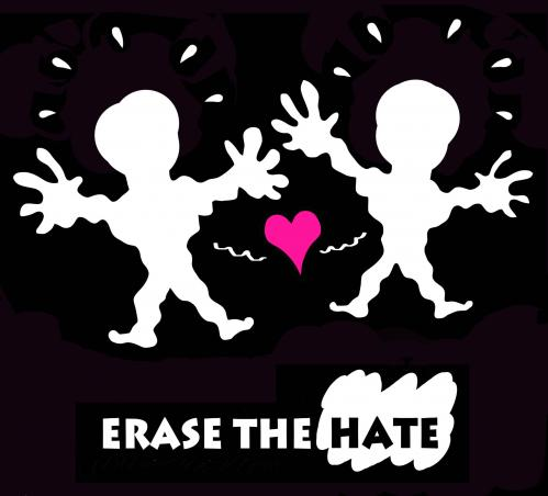 Cartoon: Erase the hate (medium) by illustrator tagged hate,bigotry,symbol,poster,love,affection,attraction,flowerpower,hass,furcht,angst,voruteile,vorurteil,liebe