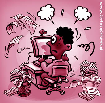 Cartoon: stressed (medium) by illustrator tagged stress,workload,load,pressure,worker,employee,papers,busy