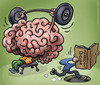 Cartoon: brains versus management books (small) by illustrator tagged management,manager,brain,power,lift,push,fall,heavy,mad,blind,books,info,satire,cartoon