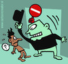 Cartoon: Discrimination (small) by illustrator tagged discrimination,black,guy,bouncer,door,entry,entrance,holding,back,exclusion,ethnic,double,standards
