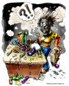 Cartoon: Exploding dildo (small) by illustrator tagged dildo,explosion,black,face,smoke,suprise,burned,