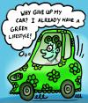 Cartoon: Green car (small) by illustrator tagged lifestyle,style,car,green,environment,driving,auto,mobility,umwelt,schutz,polution,cartoon,satire,bio,fuel,fashion,welleman,illustrator,comic,co2,clean,moving