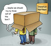 Cartoon: Out of the box (small) by illustrator tagged box,thinking,thought,cliche,manager,department,innovation,inspiration,idea