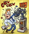 Cartoon: teeth testing robot (small) by illustrator tagged robot,machine,test,false,teeth,chew,science,scientist,danger,tie,mechanics
