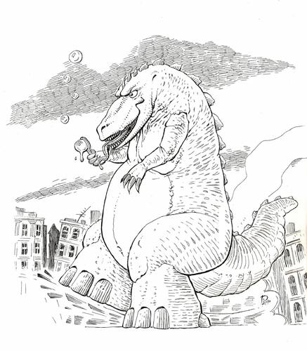 Cartoon: A Lazy Sunday Afternoon (medium) by boris53 tagged bubbles,godzilla