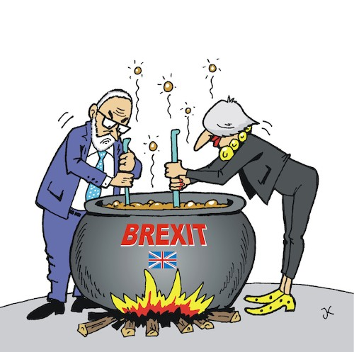 Cartoon: Brexit-Kocher (medium) by JotKa tagged brexit,kocher,eu,grossbritannien,corbyn,may,unterhaus,parlament,oberhaus,suppenkessel,brexit,kocher,eu,grossbritannien,corbyn,may,unterhaus,parlament,oberhaus,suppenkessel