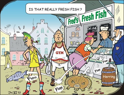 Cartoon: Fresh fish (medium) by JotKa tagged leisure,tourism,tourist,travel,vacation,sun,beach,sea,marketplace,market,sales,stand,fish,fishery,fishing,flounder,fresh,herring,sport,club