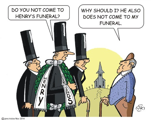 Cartoon: Henry (medium) by JotKa tagged death,age,men,grave,wreath,condolence,friends,and,mourners,funeral,cemetery