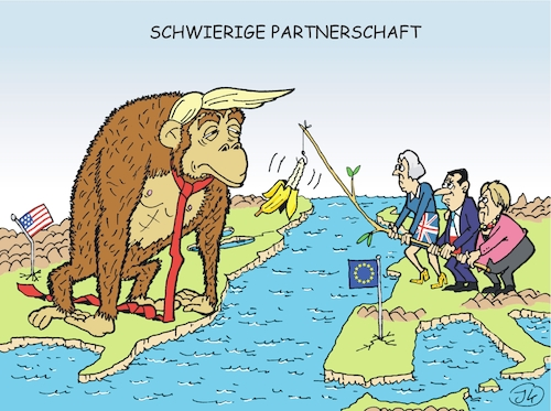 Cartoon: Schwierige Partnerschaft (medium) by JotKa tagged trump,macron,merkel,may,eu,usa,iranabkommen,handelsabkommen,strafzölle,verträge,washington,berlin,london,brüssel,trump,macron,merkel,may,eu,usa,iranabkommen,handelsabkommen,strafzölle,verträge,washington,berlin,london,brüssel