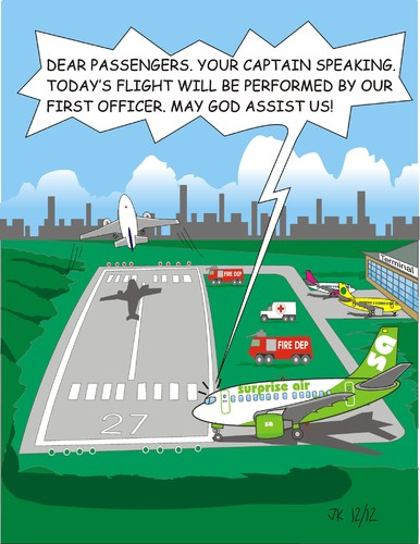 Cartoon: Oh my god (medium) by JotKa tagged travel,airport,holiday,jokes,fun,pilot,copilot,flights,cheap,flying,of,fear