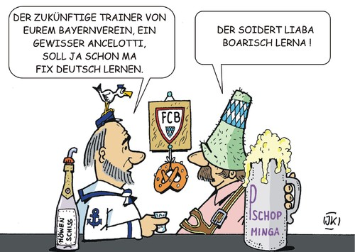 Cartoon: Trainerwechsel (medium) by JotKa tagged fußball,bundesliga,trainer,fc,bayern,fcb,pep,ancelotti,fußball,bundesliga,trainer,fc,bayern,fcb,pep,ancelotti