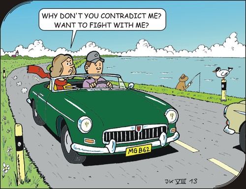 Cartoon: Trip (medium) by JotKa tagged relationships,road,trip,misunderstanding,passenger,sea,coastal,problems,friendship,marriage,1962,mg,car,classic,sports,swinging,sixties,british