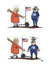 Cartoon: Entfesselungskünstlerin - Escap (small) by JotKa tagged entfesselungskünstlerin,hillary,clinton,demokraten,us,wahlkampf,2016,email,affäre,fbi,geheimnisverrat,wahlen,weisses,haus,präsident,kandidaten,nationale,sicherheit,escape,artist,democrat,election,affair,disclosure,of,secrets,elections,white,house,presiden