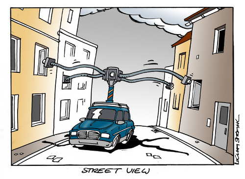 Cartoon: Street View (medium) by Micha Strahl tagged micha,strahl,street,view,kamerafahrten,datensammlung,kamerafahrten,datensammlung,kamera,daten,überwachung,big brother,big,brother