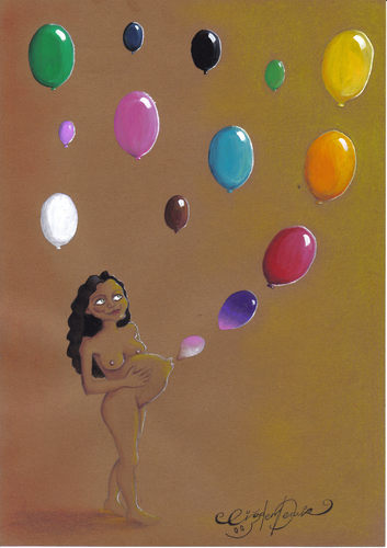 Cartoon: BALLOONS (medium) by CIGDEM DEMIR tagged woman,women,balloon,color,colorful,world,peace,mother,baby,pregnant