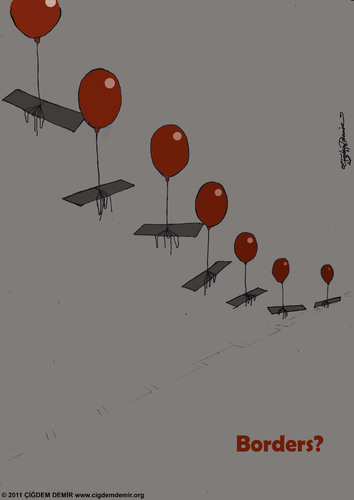 Cartoon: Borders? (medium) by CIGDEM DEMIR tagged cigdem,demir,borders,balloon,red,fly