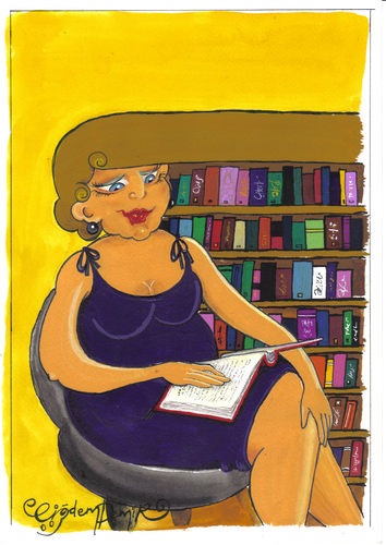 Cartoon: LIBRARY (medium) by CIGDEM DEMIR tagged library,woman,women,book,literacy,rate,hair,beauty,reading,colorful