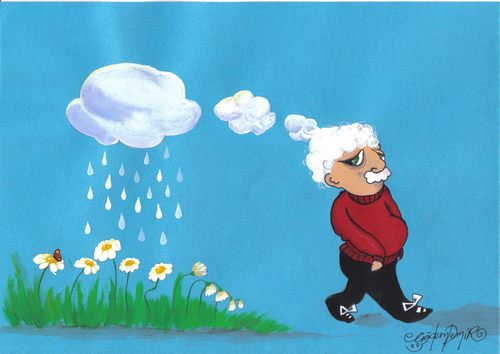 Cartoon: LIFE (medium) by CIGDEM DEMIR tagged life,death,flower,old,age,white,cloud,rain,wither