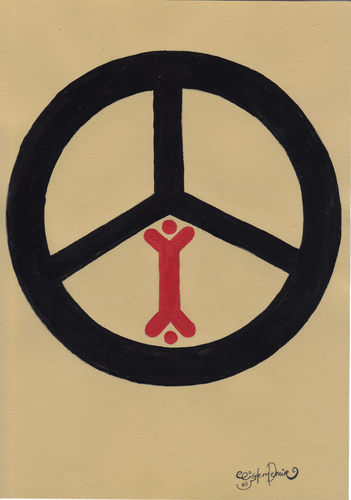 Cartoon: PEACE! (medium) by CIGDEM DEMIR tagged peace,war,humanity,people,black,red,logo
