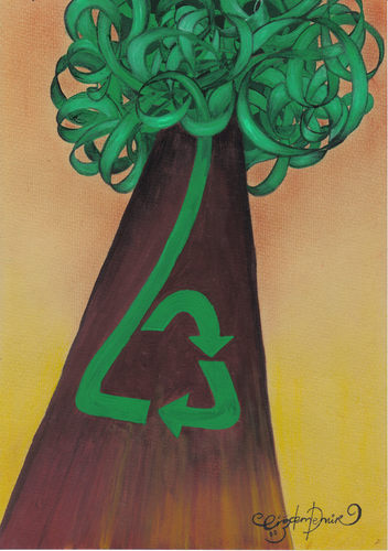 Cartoon: RECYCLING OF A TREE (medium) by CIGDEM DEMIR tagged recycling,environment,tree,green,forest
