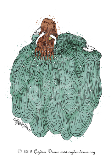 Cartoon: THE DREAM OF THE COMB (medium) by CIGDEM DEMIR tagged hair,red,woman,comb,the