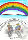 Cartoon: colors need boundaries (small) by CIGDEM DEMIR tagged sea,rainbow,color,soldier,boundary,ship,red,sky