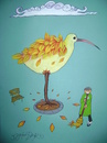 Cartoon: the bird losing its leaves (small) by CIGDEM DEMIR tagged bird,animal,leaves,bench,tree,autumn,season,yellow,orange,red