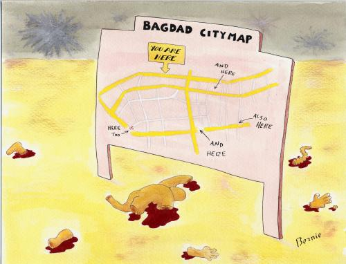 Cartoon: Bagdad city map (medium) by bernie tagged irak,war,