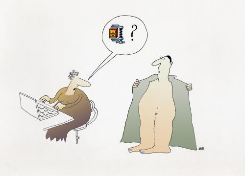 Cartoon: compressed file (medium) by bernie tagged computer,couple,exhibitionist,