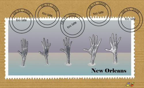 Cartoon: New Orleans 2005 (medium) by bernie tagged usa,bush,
