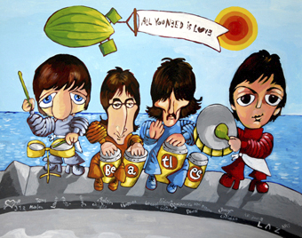 Cartoon: BEATLES (medium) by LAZ tagged beatles