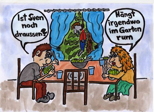 Cartoon: Sven hängt im Garten rum (medium) by Marcello tagged rumhängen