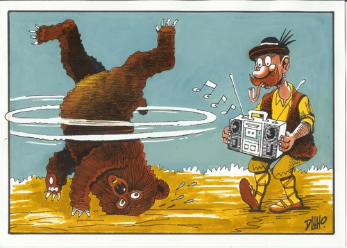 Cartoon: Modern bear dance (medium) by Dluho tagged bear,tier,tiere,bär,tanzen,dressur,dressieren,zirkus,musik,breakdance