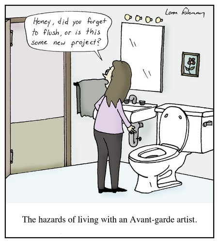 Cartoon: Avant-Garde Artists (medium) by Humoresque tagged painting,artistic,arts,artwork,artists,artist,paintings,painter,painters,sculpture,sculptures,sculptor,sculptors,modern,art,museum,museums,project,projects,toilet,toilets,avant,garde,critic,critics,new,age,wave,marriage,marriages