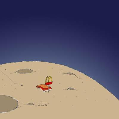 Cartoon: McDonalds auf dem Mond (medium) by lexaart tagged globalisierung,fastfood,mcdonalds,mond