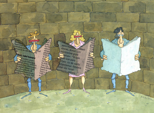 Cartoon: gazete sansur (medium) by Gölebatmaz tagged sansur,gazete,basin,baski,demokrasi