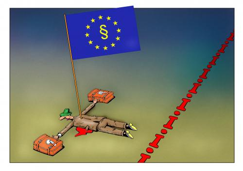 Cartoon: eu diskrimenation (medium) by kurtu tagged no,,eu,diskriminierung,ausländer,paragraph,umbringen,einreise,intoleranz,rassismus,akzeptanz,staatsgrenze,gesetz,ungerechtigkeit
