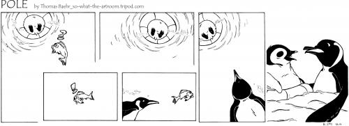Cartoon: POLE Strip No.14 (medium) by Penguin_guy tagged penguins,pinguine,pets,tiere,animals,dad,vater,son,sohn,jaws,pinguin,südpol,nordpol,tier,polar,winter,schnee,anarktis,arktis,einsamkeit,langeweile,ödnis,menschenleer,vater,sohn,hai,rettungsring,fisch,futter,jagd,meer,ozean,trist,weiß
