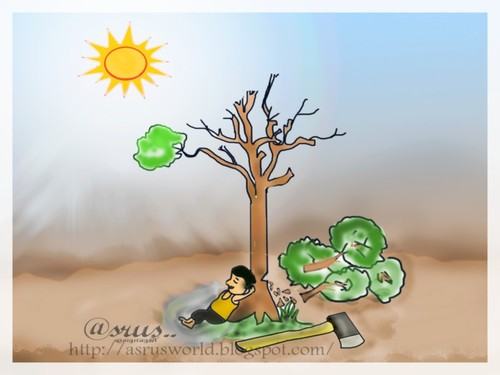 Cartoon: Tree that give cool shade ! (medium) by asrus tagged shade,cool,cutting,wood