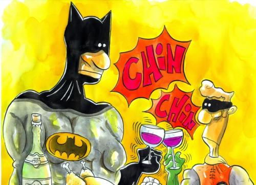 Cartoon: Batman y Robin brindando (medium) by Mario Almaraz tagged batibrindis,,batman,robin,anstoßen,superheld,comic,prost,cheers,alkohol,feiern,party,freizeit,amüsieren